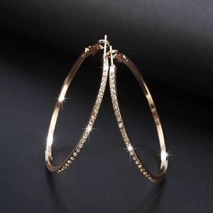 ♡Rhinestone Circle hoop new Big Circle Earrings♡